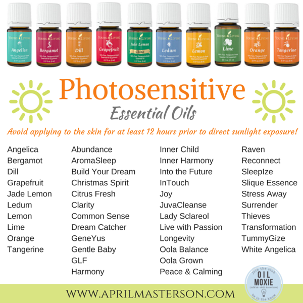 Photosensitive essential oils