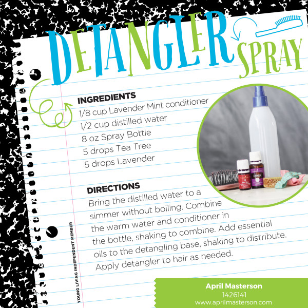 Essential oil detangler spray